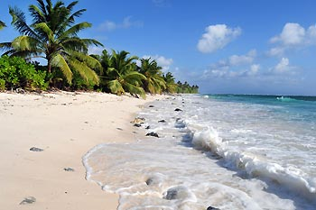 White sandy beaches, fringed with cocos palms on Cocos Keeling Islands