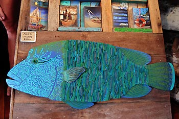 A piece of art by Emma Washer: a Napoleon Wrasse made out of washed-up thongs - Cocos Keeling Islands, Western Australia