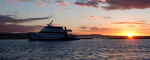 Sunset coming back from Lady Musgrave, Great Barrier Reef, Queensland, Australia