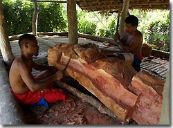 Traditional wood carvers at work, Yap, Micronesia