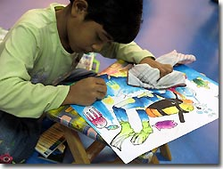 One of the young participants of the Annual Drawing Competition, Kuala Lumpur, Malaysia. MIDE 2008