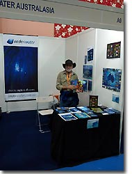 Neville Coleman at the underwater.com.au booth, Kuala Lumpur, Malaysia. MIDE 2008