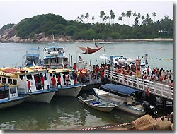 The jetty where the dive and snorkel boats are leaving from, Redang Island, Malaysia.