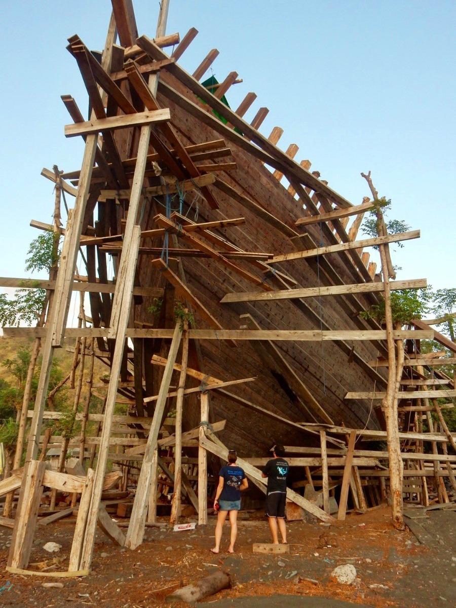 Ship building up close - an Indonesian Pinsi. Bontoh village on Sangeang Api