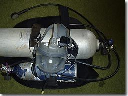 AGA with an inverted pony.  In this case the pony is connected to the main first stage and inverted so the diver can reach the valve.