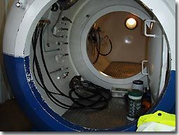 Chamber dive to 50 metres in the onboard re-compression chamber on Big Pearl.    Expired air/oxygen when breathing off the BIBS is taken out of the chamber to help make sure the oxygen levels don't get too high (also monitored with a sensor)...