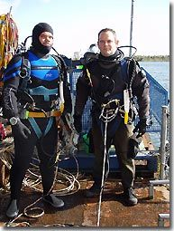 Simon K and Craig ready to hit the water on the Big Pearl.  Notice the big yellow knives in the white sheaths on the left shoulder D-ring.