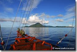 Phinisi schooner approaching Guning Api, Banda, Spice Islands.