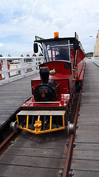 The Jetty Train takes passengers all the way to the end of the jetty where the Underwater Observatory is located. Busselton, Western Australia