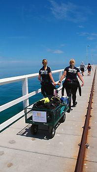 We strolled down the entire jetty with our dive gear in a trolley. Busselton, Western Australia