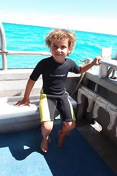 Max is ready to snorkel with Australian Sea-lions at Jurien Bay, Western Australia