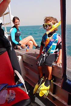 Max ready for snorkeling on NIngaloo Reef, Exmouth Diving Centre. Exmouth, Western Australia