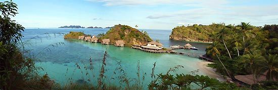 Panoramic View of Misool Eco Resort - Raja Ampat, West Papua, Indonesia.