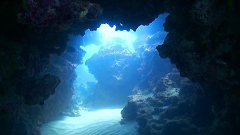 Great swimthroughs at Muiron Islands. Ningaloo Reef, Exmouth, Western Australia.