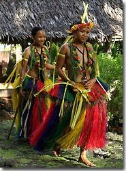 Dancers in traditional dress, Yap, Micronesia