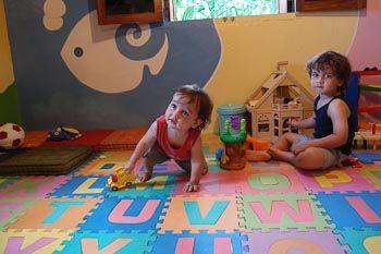 Max and Zac playing at the Kids Club at Wakatobi.